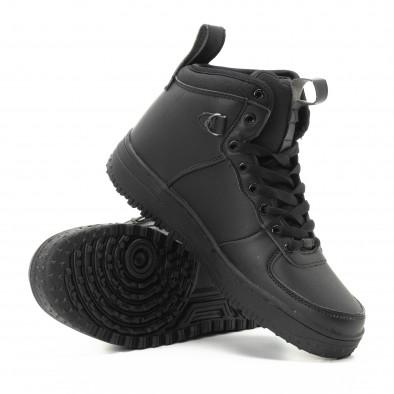 Ανδρικά μαύρα ψηλά sneakers με τρακτερωτή σόλα it301118-10 4