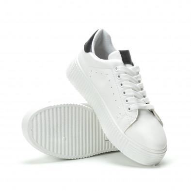 Γυναικεία λευκά sneakers με μαύρη λεπτομέρεια it250119-65 4