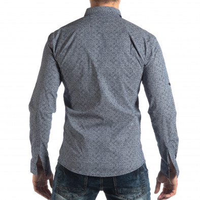 Ανδρικό γαλάζιο Slim fit πουκάμισο με φλοράλ μοτίβο it210319-92 3