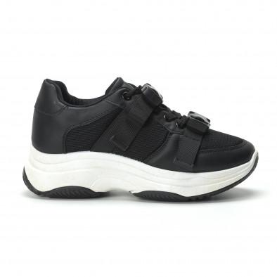 Γυναικεία μαύρα sneakers με μοντέρνο κούμπωμα it250119-62 2