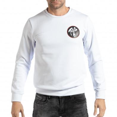 Ανδρική λευκή μπλούζα με ανατολίτικο μοτίβο it261018-94 2