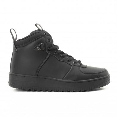 Ανδρικά μαύρα ψηλά sneakers με τρακτερωτή σόλα it301118-10 2