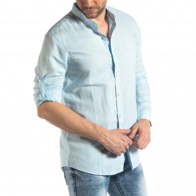 Ανδρικό γαλάζιο πουκάμισο από λινό και βαμβάκι it210319-105 4