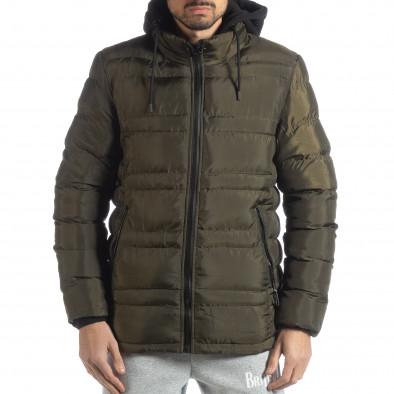 Ανδρικό χειμερινό μπουφάν με κουκούλα σε χρώμα military  it051218-63 3