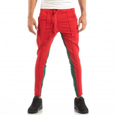 Ανδρική φόρμα σε κόκκινο και πράσινο με ρίγα και φερμουάρ it240818-97 2