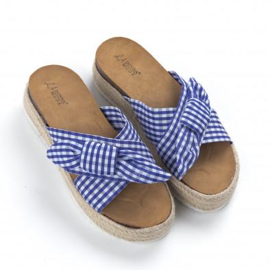Γυναικείες γαλάζιες καρέ παντόφλες it050619-78 3