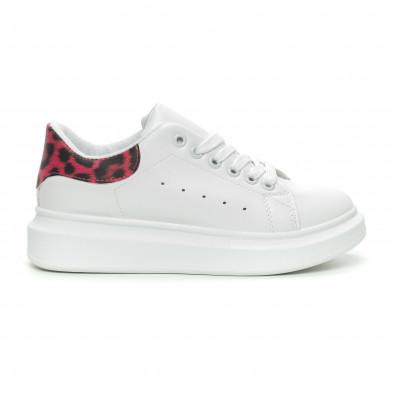 Γυναικεία λευκά sneakers με ροζ animal λεπτομέρεια it150319-47 2