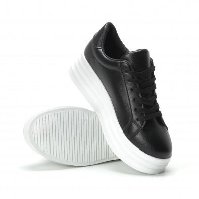 Γυναικεία μαύρα sneakers με διακοσμητική λεπτομέρεια it250119-89 4