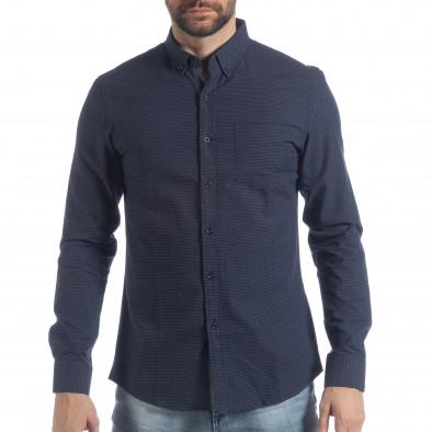 Ανδρικό μπλε πουά πουκάμισο Slim fit it040219-122 2