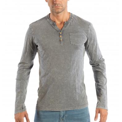Ανδρική γκρι μπλούζα με κουμπιά House lp070818-21 2
