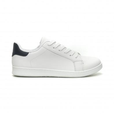 Ανδρικά λευκά αθλητικά παπούτσια με μπλέ λεπτομέρεια it040619-2 2