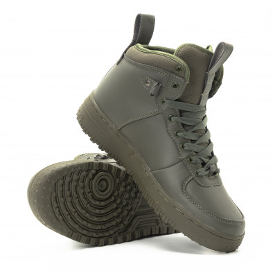 Ανδρικά ψηλά χακί sneakers με τρακτερωτή σόλα it301118-9 4