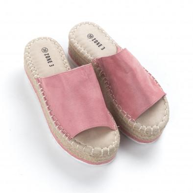 Γυναικείες ροζ παντόφλες τύπου Εσπαντρίγιες it050619-90 3