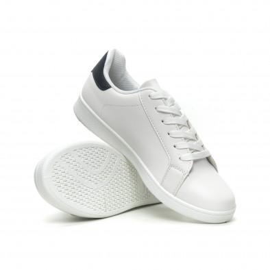 Ανδρικά λευκά αθλητικά παπούτσια με μπλέ λεπτομέρεια it040619-2 4