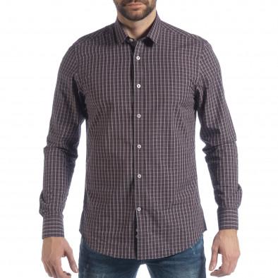 Ανδρικό μπλε καρέ βαμβακερό πουκάμισο Slim fit it040219-124 3