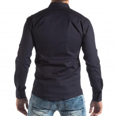 Ανδρικό Slim fit σκούρο μπλε πουκάμισο με σταυροτό μοτίβο it210319-96 4