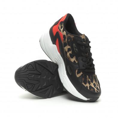 Γυναικεία αθλητικά παπούτσια με κόκκινες και λεοπάρ λεπτομέρειες it230519-20 4