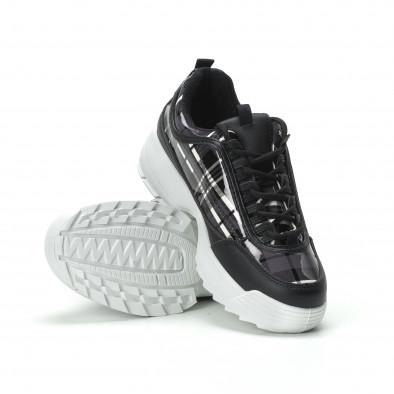 Γυναικεία μαύρα καρέ sneakers με Chunky πλατφόρμα it250119-54 4