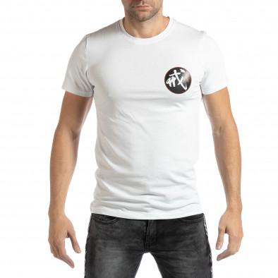 Ανδρική λευκή κοντομάνικη μπλούζα με ανατολίτικο μοτίβο it261018-118 2