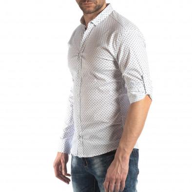 Ανδρικό λευκό Slim fit πουκάμισο με σταυροτό μοτίβο it210319-94 4