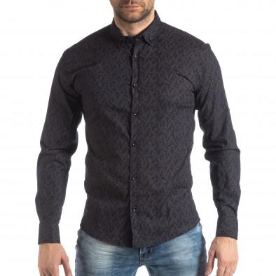 Ανδρικό Slim fit σκούρο μπλε πουκάμισο με μοτίβο φύλλα it210319-100 3