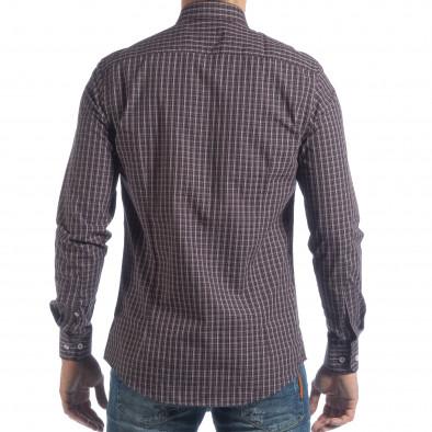 Ανδρικό μπλε καρέ βαμβακερό πουκάμισο Slim fit it040219-124 4
