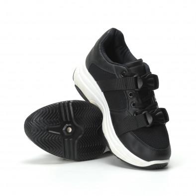 Γυναικεία μαύρα sneakers με μοντέρνο κούμπωμα it250119-62 4