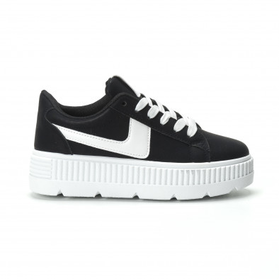 Γυναικεία μαύρα sneakers με πλατφόρμα και λευκή λεπτομέρεια it250119-96 2