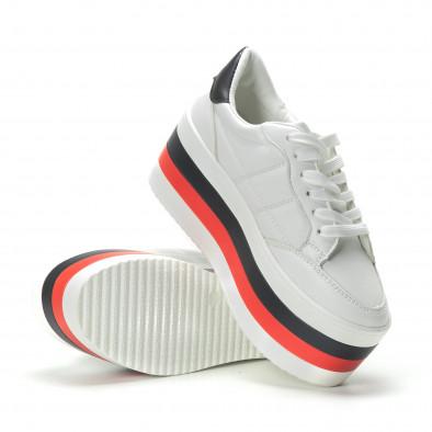 Γυναικεία λευκά sneakers με πλατφόρμα it250119-55 4