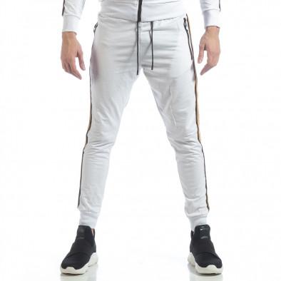 Ανδρικό λευκό αθλητικό σετ 5 striped ss-NB-12A-NB-12B 5