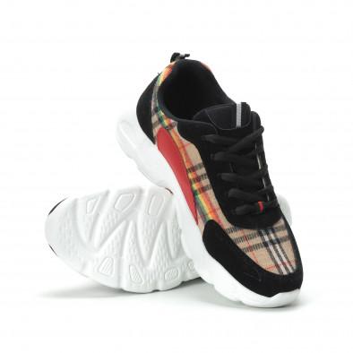 Γυναικεία μαύρα sneakers με καρέ διακόσμηση it250119-84 5