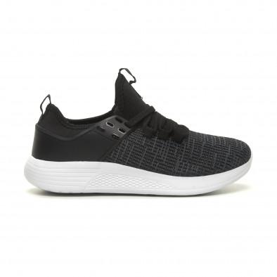 Ανδρικά μαύρα μελάνζ αθλητικά παπούτσια ελαφρύ μοντέλο it040619-4 2