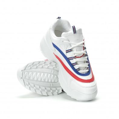 Γυναικεία λευκά sneakers με χρωματιστές λωρίδες it250119-88 5