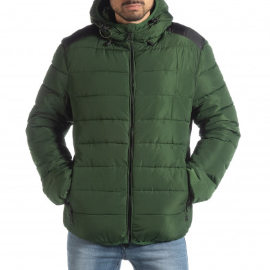 Ανδρικό πράσινο χειμερινό μπουφάν με μαύρες λεπτομέρειες it051218-65 3