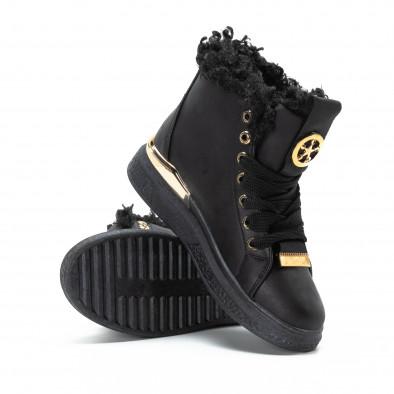 Γυναικεία μαύρα ψηλά Sneakers με χρυσές λεπτομέρειες it081018-2 4