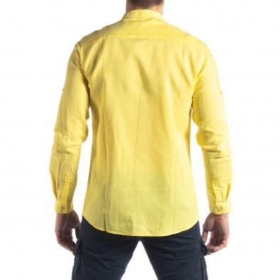 Ανδρικό κίτρινο πουκάμισο από λινό και βαμβάκι it210319-103 4
