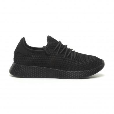 Ανδρικά μαύρα αθλητικά παπούτσια Mesh  it230519-6 2