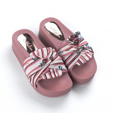 Γυναικείες ροζ παντόφλες σατέν με πλατφόρμα it050619-47 3