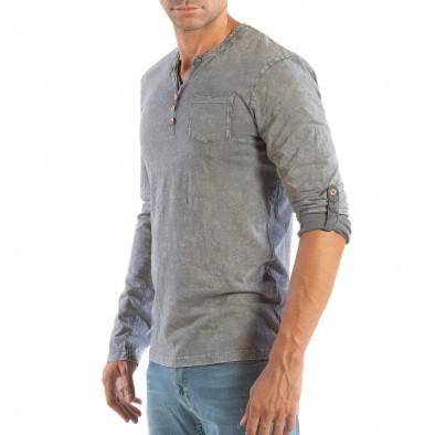 Ανδρική γκρι μπλούζα με κουμπιά House lp070818-21 3