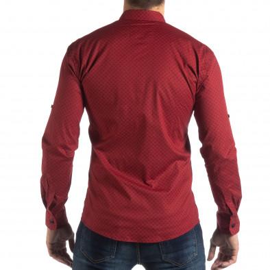 Ανδρικό κόκκινο Slimf fit πουκάμισο με σταυροτό μοτίβο it210319-95 3
