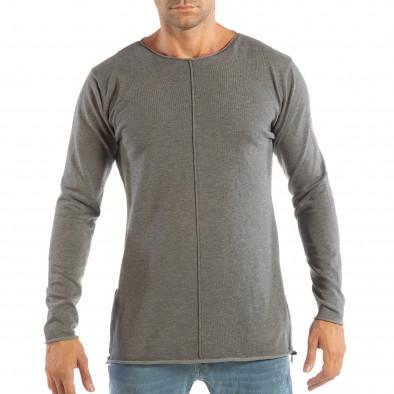 1a25e036844f Ανδρική γκρι μπλούζα από πλεκτό ύφασμα με φερμουάρ it240818-125 2 ...