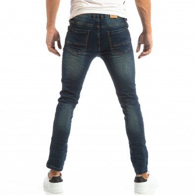 Ανδρικό μπλε τζιν Slim Jeans με τσαλακωμένο εφέ it240818-49 3