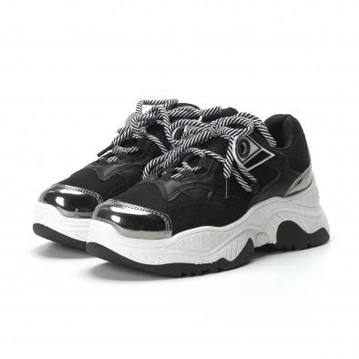 Γυναικεία ασπρόμαυρα sneakers με πλατφόρμα it250119-34 4
