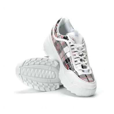 Γυναικεία λευκά καρέ sneakers με Chunky πλατφόρμα it250119-53 4