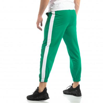 Ανδρική πράσινη φόρμα με λευκή ρίγα it210319-55 2