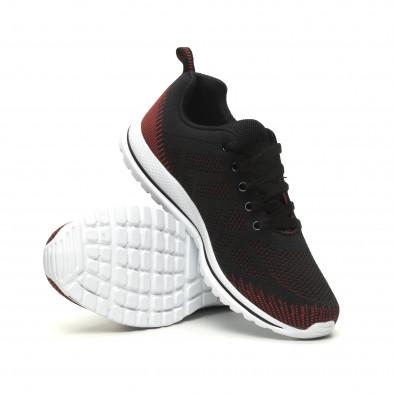 Ανδρικά πλεκτά αθλητικά παπούτσια σε μαύρο-κόκκινο it040619-8 4