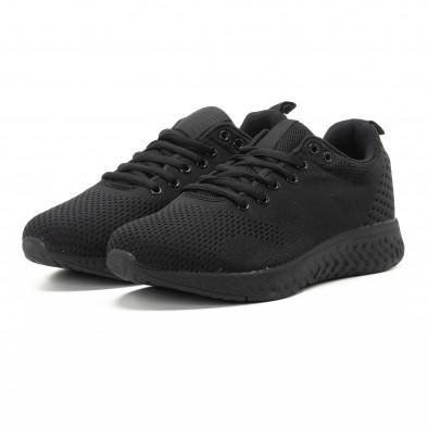 Ανδρικά μαύρα πλεκτά αθλητικά παπούτσια it301118-5 3