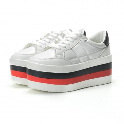 Γυναικεία λευκά sneakers με πλατφόρμα it250119-55 3