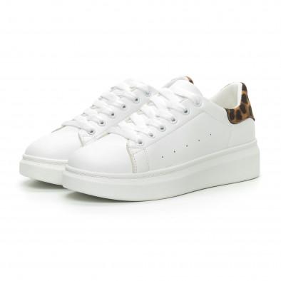 Γυναικεία λευκά sneakers με λεοπάρ λεπτομέρεια it150319-44 3