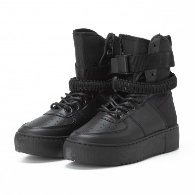Γυναικεία μαύρα ψηλά sneakers All black με αξεσουάρ it150818-62 4
